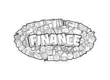 Finanza - iscrizione della mano e schizzo degli elementi di scarabocchi Illustrazione di vettore Illustrazione Vettoriale