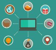 Finanza online app, analisi dei dati finanziaria di progettazione piana che segue su un dispositivo digitale royalty illustrazione gratis