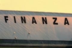 Finanza wroten в стороне быстроходного катера Стоковые Фото