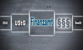 Finanzamt в немецком backgr концепции экрана касания офиса финансов Стоковое Изображение RF