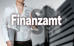 Finanzamt in german Financial authority touchscreen is operate. D by businesswoman background stock images
