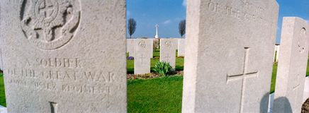 Finanzanzeige auf einem Militärfriedhof stockfoto