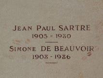 Finanzanzeige von Jean Paul Sartre und von Simone de Beauvoir lizenzfreies stockfoto