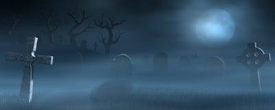 Finanzanzeigen auf einem gespenstischen nebelhaften Friedhof nachts Lizenzfreie Stockfotografie