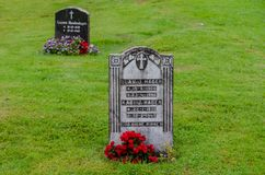 Finanzanzeigen des norwegischen Friedhofs stockfotos