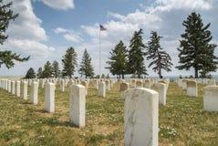 Finanzanzeigen im Little Bighorn-Schlachtfeld-nationalen Denkmal Stockfotos