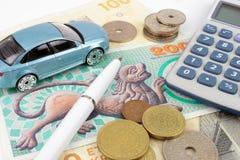 Finanzas danesas del coche fotografía de archivo