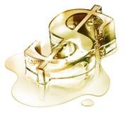 Finanzas de la crisis - el símbolo del dólar en oro de fusión Imagen de archivo libre de regalías
