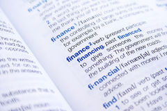 Finanzas de la palabra fotos de archivo