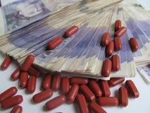 Finanzas 2 de la salud del dinero de drogas Fotos de archivo libres de regalías