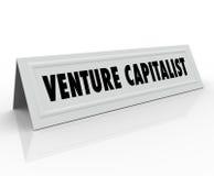 Finanzas de lanzamiento Inves del negocio de la tarjeta de la tienda del nombre del capitalista de riesgo Fotos de archivo libres de regalías