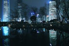Finanzas de Shangai Lujiazui y paisaje urbano de los edificios de la ciudad Imagenes de archivo