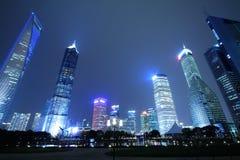 Finanzas de Shangai Lujiazui y paisaje urbano de los edificios de la ciudad Fotografía de archivo