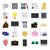 Finanzas del color y sistema planos de la oficina en el fondo blanco para el gráfico y el diseño web, muestra simple moderna del  stock de ilustración