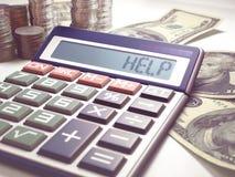 Finanzas del negocio del cálculo de la ayuda Foto de archivo libre de regalías