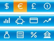 Finanzas del vector, depositando el conjunto del icono Imagen de archivo libre de regalías