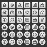 Finanzas fijadas iconos grises del negocio Imagenes de archivo