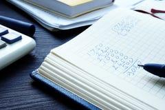 Finanzas personales o caseras Calculadora, dinero y libreta con las figuras foto de archivo