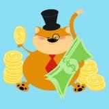 Finanzas rojas gruesas ricas del gato, vector de Cartoon del banquero del gato stock de ilustración
