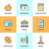 Finanzas y línea iconos del dinero fijados ilustración del vector