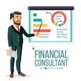 Finanzberater Vector Geschäftsmann With Blackboard Berufsunterstützung Forschung stellt Markt grafisch dar Geschäft Lizenzfreie Stockbilder