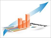 Finanzberichtsvertretungsfortschritt mit Diagrammen und Pfeil Stockbild