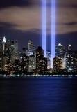 Finanzbezirk Manhattan nachts über Hudson Lizenzfreies Stockfoto