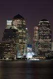 Finanzbezirk Manhattan nachts Hudson Lizenzfreie Stockfotografie