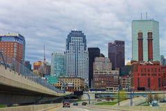 Finanzbezirk an North End-Park in im Stadtzentrum gelegenem Boston Lizenzfreies Stockbild