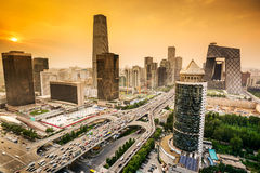 Finanzbezirks-Skyline Pekings, China Lizenzfreies Stockbild