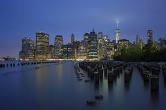 Finanzbezirkspanorama New York City Manhattan Stockbild