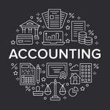 Finanzbuchhaltungskreisplakat mit flacher Linie Ikonen Buchhaltungsbroschürenkonzept, Steueroptimierung, Darlehen, Gehaltsliste Stock Abbildung