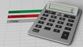 Finanzbudgetblatt mit Einkommen, Ausgabendaten Lizenzfreie Stockbilder