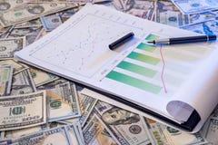 Finanzdiagramm auf Dollar Stockbilder
