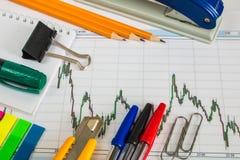 Finanzdiagramm auf einem weißen Hintergrund, Münzen, Stiften, Bleistiften und Büroklammern Lizenzfreie Stockbilder
