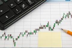 Finanzdiagramm auf einem weißen Hintergrund mit Taschenrechner, Bleistifte, Aufkleberkopienraum Stockfotos