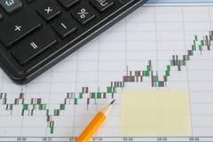 Finanzdiagramm auf einem weißen Hintergrund mit Taschenrechner, Bleistifte, Aufkleberkopienraum Lizenzfreies Stockfoto
