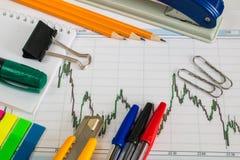 Finanzdiagramm auf einem weißen Hintergrund mit Taschenrechner, Münzen, Stiften, Bleistiften und Büroklammern Lizenzfreies Stockfoto