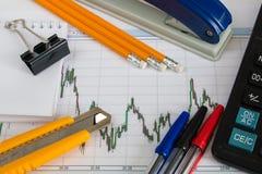 Finanzdiagramm auf einem weißen Hintergrund mit Taschenrechner, Münzen, Stiften, Bleistiften und Büroklammern Stockfotografie