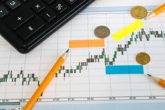Finanzdiagramm auf einem weißen Hintergrund mit Taschenrechner, Münzen, Stiften, Bleistiften und Büroklammern Lizenzfreie Stockbilder