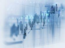 Finanzdiagramm auf Technologiezusammenfassungshintergrund Stockfoto