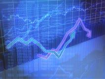 Finanzdiagramm mit Pfeilen Stockfotografie