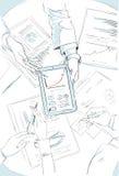 Finanzdiagramm-Skizze Taplet-Computer-Geschäft Lizenzfreie Stockfotos