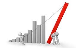Finanzdiagramm-Teamwork-Konzept mit Zeichen der Leute-3d Stockfoto