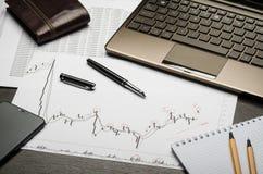 Finanzdiagramme und Berichte ?ber Papier, W?hrungsanalyse, der Arbeitsplatz des Maklers lizenzfreie stockfotos