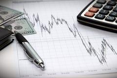 Finanzdiagramme von Dollar gegen Euro Stockbilder