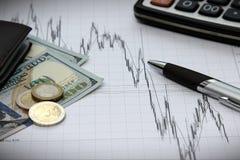 Finanzdiagramme von Dollar gegen Euro Lizenzfreies Stockbild