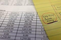 Finanzdokumente mit Zahlen für Einsparungen oder Einkommen-Person Lizenzfreies Stockfoto
