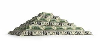 Finanzdollarpyramide mit Schärfentiefe Stockbilder