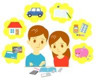Finanze in carico della famiglia, coppie illustrazione di stock